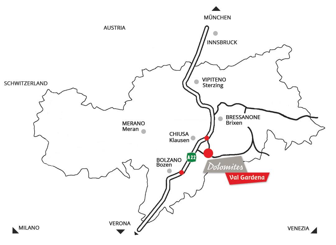 Location Of Apartment Larjei In Ortisei In Val Gardena In The